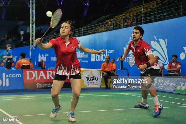 Emre Sonmez and Ilayda Nur Ozelgul of Turkey compete against Wei Chong Man and Sueh Jeou Tan of Malaysia during Mixed Double qualification round of...