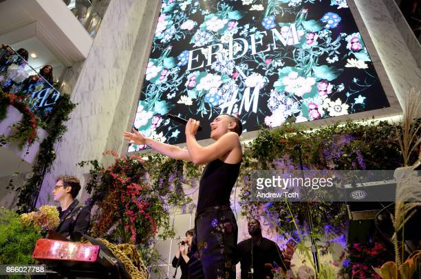 Emre Turkmen and Olly Alexander of Years Years perform at the ERDEM X HM Exclusive Event at HM Flagship Fifth Avenue Store on October 24 2017 in New...