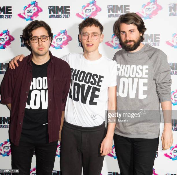 Emre Turkmen Olly Alexander and Mikey Goldsworthy of the band Years and Years arrive at the VO5 NME awards 2017 on February 15 2017 in London United...