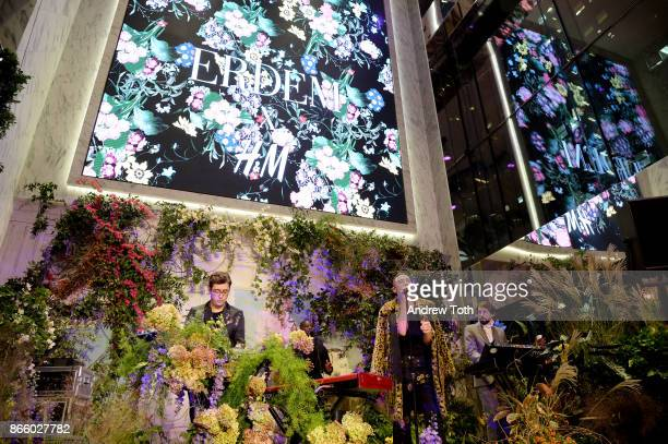 Emre Turkmen Olly Alexander and Mikey Goldsworthy of Years Years perform at the ERDEM X HM Exclusive Event at HM Flagship Fifth Avenue Store on...