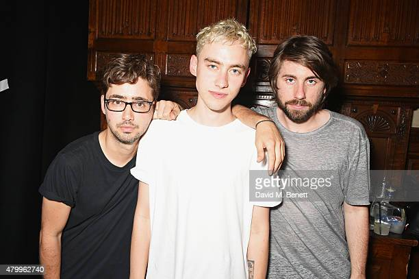 Emre Turkmen Olly Alexander and Mikey Goldsworthy of Years Years pose backstage at the Years Years VIP album launch party in association with ASOS at...