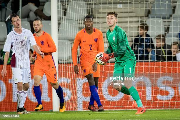 Emsis Eduards of Jong Letland Bart Ramselaar of Jong Oranje Denzel Dumfries of Jong Oranje goalkeeper Justin Bijlow of Jong Oranje during the EURO...