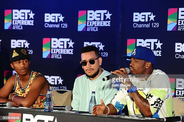 EmteeAKA and Diamond Platnumz at the BET Experience Africa press conference on December 11 2015 at the Radisson Blue Hotel in Johannesburg South...
