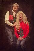 Emulated Vintage Christmas Portrait Photograph