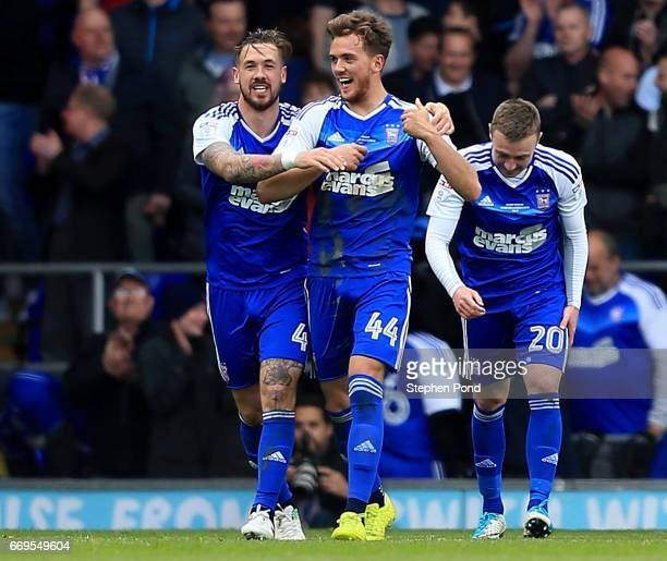 Emyr Huws of Ipswich Town celebrates scoring during the Sky Bet Championship match between Ipswich Town and Newcastle United at Portman Road on April...