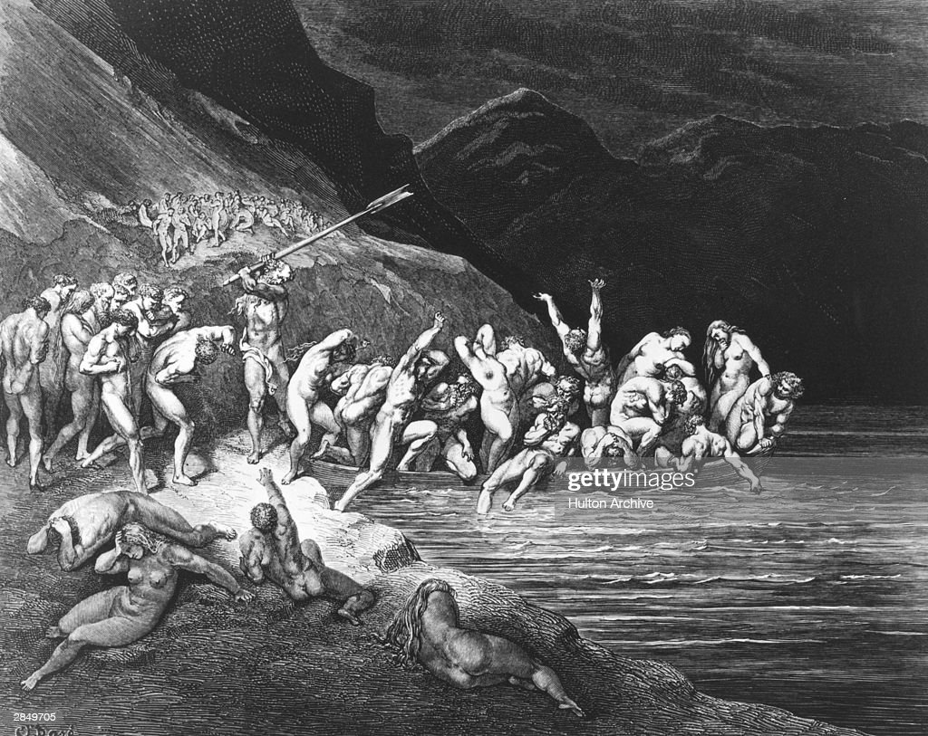 'E'en in like manner Adam's evil brood cast themselves, one by one, down from the shore'. Charon the ferryman beats the stragglers on the shores of Acheron. An engraving by Gustave Dore, illustrating Canto III of Dante's Inferno, written circa 1310.