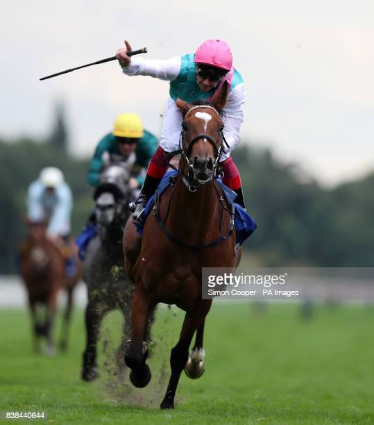 Enable ridden by Frankie Dettori wins The Darley Yorkshire Oaks during Darley Yorkshire Oaks and Ladies Day of the Yorkshire Ebor Festival at York...