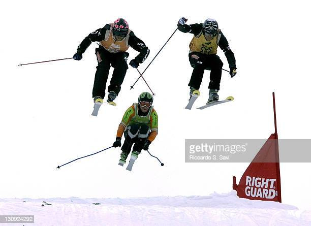Enak Gavaggio Zach Crist and Lars lewen jockey for position in the Men's Ultracross Semifinal event during the Winter X Games IX at Buttermilk...