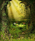 3D rendering of an enchanting fairy forest opening with a magical pond in the background.