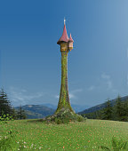 3D rendering of the enchanted Rapunzel tower in a romantic mountain forest setting.