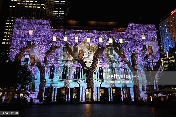 'Enchanted Sydney' an artwork by Spinifex is projected onto Customs House during a Vivid Sydney festival media preview at Circular Quay on May 21...