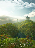 3D render of an enchanting castle close to the sea