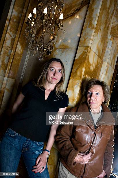 Encounter between two feminists in hotel Crillon in PARIS face plane of Benoite GROULTE author of 'The star key' to Grasset editions posing leaning...