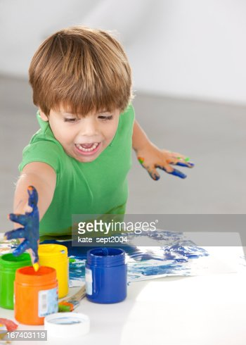 Encouraging the young painter : Stockfoto