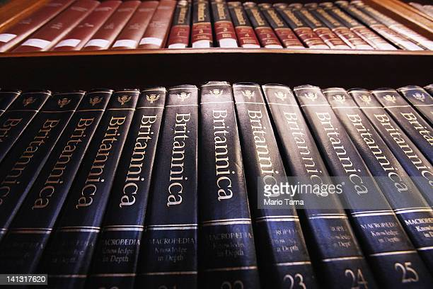 Encyclopedia Britannica editions are seen at the New York Public Library on March 14 2012 in New York City Encyclopedia Britannica announced it will...