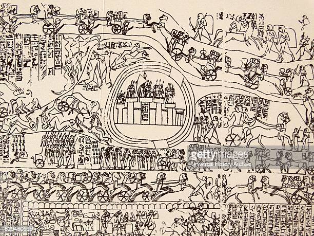End of 5th century AD Deatail from a freize showing the Battle of Kadesh between the Egyptian Empire under Ramesses II and the Hittite Empire under...