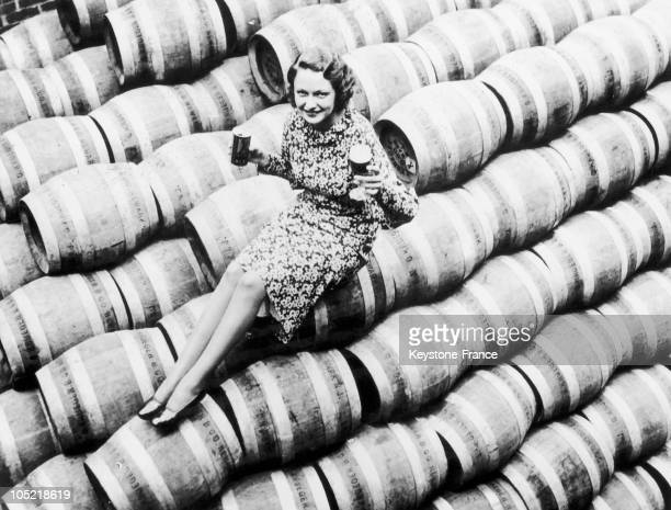 End Of Prohibition Woman On Beer Barrels In 1933