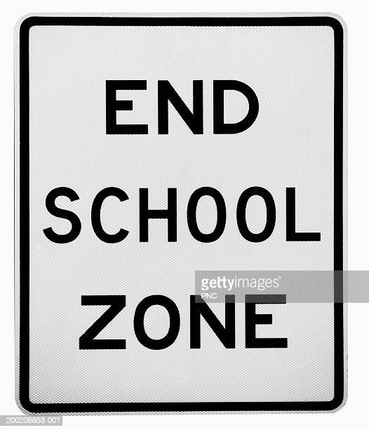 'End School Zone' road sign