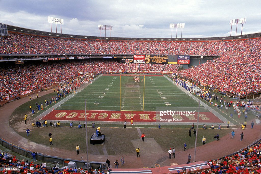End zone view from the upperdeck at Candlestick Park during the 1989 NFC Championship game between the Los Angeles Rams and the San Francisco 49ers...