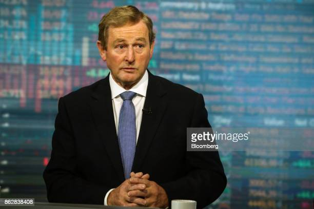 Enda Kenny Ireland's former prime minister listens during a Bloomberg Television interview in New York US on Wednesday Oct 18 2017 A socalled hard...