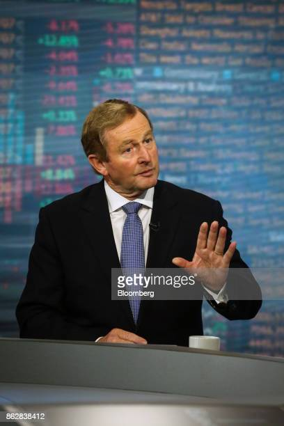 Enda Kenny Ireland's former prime minister speaks during a Bloomberg Television interview in New York US on Wednesday Oct 18 2017 A socalled hard...
