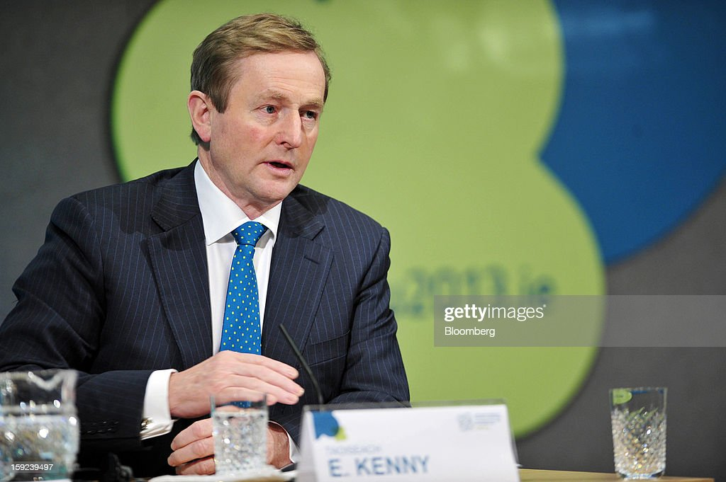 Enda Kenny, Ireland's prime minister, gestures during a joint news conference with Jose Manuel Barroso, president of the European Commission, at Dublin Castle in Dublin, Ireland, on Thursday, Jan. 10, 2013. Europe needs to tackle slow growth and high unemployment after laying concerns about the euro's survival to rest, European Commission President Jose Manuel Barroso said. Photographer: Aidan Crawley/Bloomberg via Getty Images