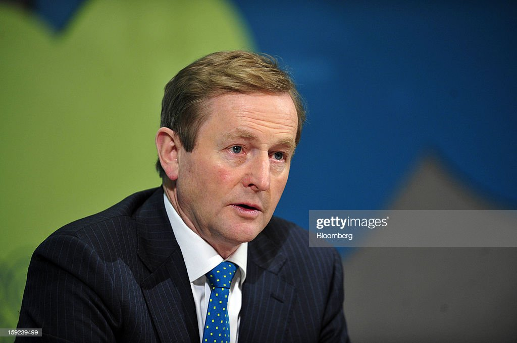 Enda Kenny, Ireland's prime minister, speaks during a joint news conference with Jose Manuel Barroso, president of the European Commission, at Dublin Castle in Dublin, Ireland, on Thursday, Jan. 10, 2013. Europe needs to tackle slow growth and high unemployment after laying concerns about the euro's survival to rest, European Commission President Jose Manuel Barroso said. Photographer: Aidan Crawley/Bloomberg via Getty Images