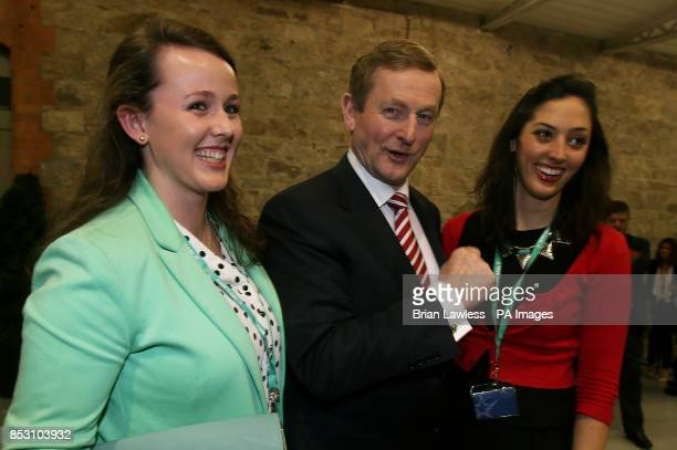 Enda Kenny pictured with his daughter Aiobhinn and his goddaughter Dervla Kenny at the Fine Gael Ard Fheis at the RDS Dublin PRESS ASSOCIATION Photo...