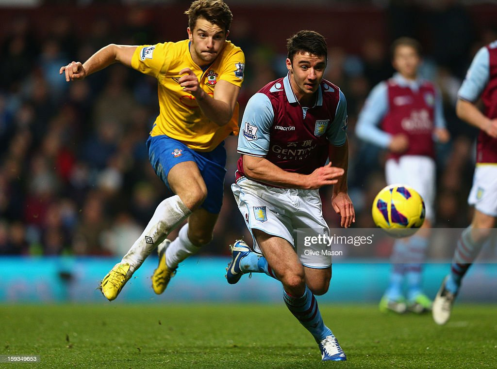 Enda Stevens of Aston Villa escapes a challenge from Jay Rodriguez of Southampton during the Barclays Premier League match between Aston Villa and Southampton at Villa Park on January 12, 2013 in Birmingham, England.