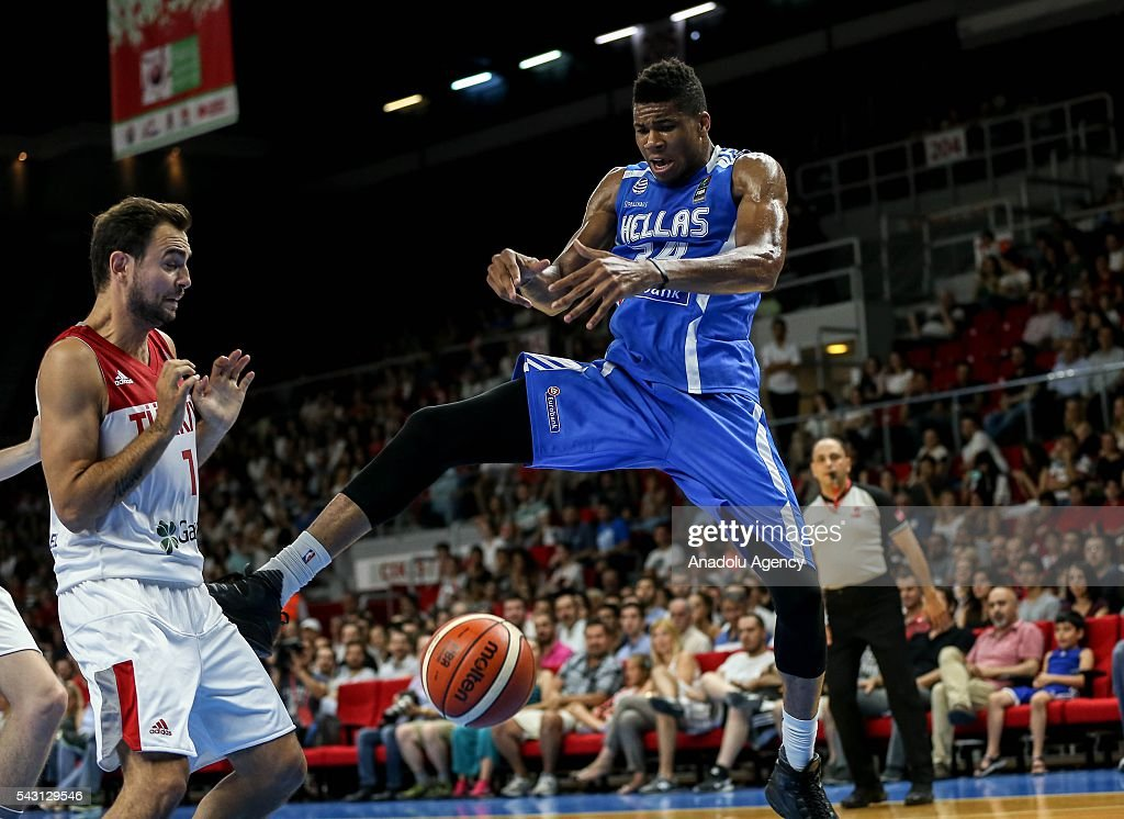Ender Arslan (1) of Turkey in action against Giannis Antetokounmpo (34) of Greece during the friendly match at Abdi Ipekci Sports Hall in Istanbul, Turkey on June 26, 2016.