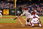 Ender Inciarte of the Arizona Diamondbacks bunts during the game against the Philadelphia Phillies at Citizens Bank Park on July 26 2014 in...