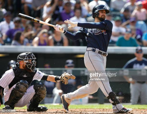 Ender Inciarte of the Atlanta Braves bats against the Colorado Rockies in the seventh inning at Coors Field on August 17 2017 in Denver Colorado Ryan...