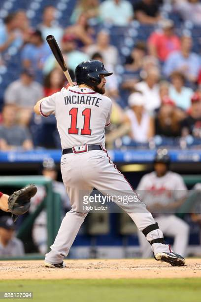 Ender Inciarte of the Atlanta Braves bats during the game against the Philadelphia Phillies at Citizens Bank Park on July 28 2017 in Philadelphia PA...
