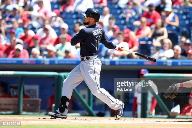 Ender Inciarte of the Atlanta Braves bats during the game against the Philadelphia Phillies at Citizens Bank Park on July 30 2017 in Philadelphia PA...