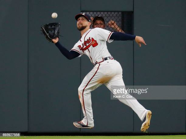 Ender Inciarte of the Atlanta Braves catches a deep out hit by Tommy Joseph of the Philadelphia Phillies in the ninth inning at SunTrust Park on June...
