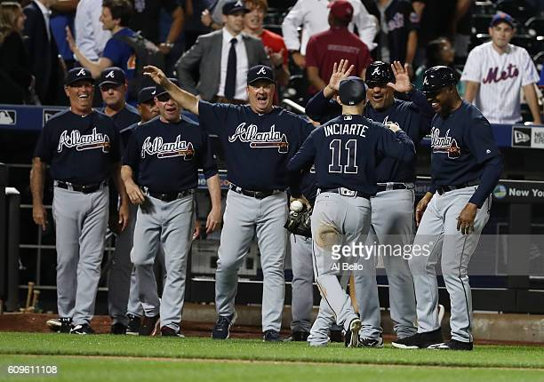 Ender Inciarte of the Atlanta Braves celebrates after robbing Yoenis Cespedes of the New York Mets of a game winning home run to end the game at Citi...