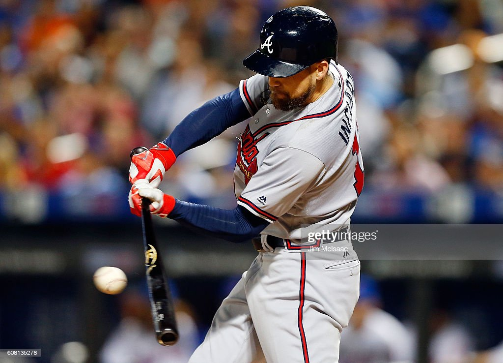 Ender Inciarte #11 of the Atlanta Braves connects on a second inning RBI base hit against the New York Mets at Citi Field on September 19, 2016 in the Flushing neighborhood of the Queens borough of New York City.