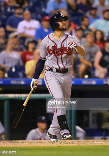 Ender Inciarte of the Atlanta Braves hits a double in the fifth inning during a game against the Philadelphia Phillies at Citizens Bank Park on July...