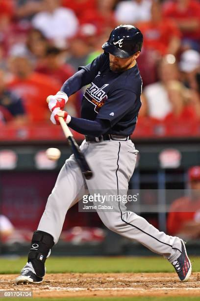 Ender Inciarte of the Atlanta Braves hits a double in the seventh inning against the Cincinnati Reds at Great American Ball Park on June 2 2017 in...