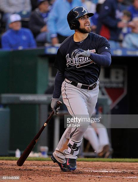 Ender Inciarte of the Atlanta Braves hits a RBI double in the fifth inning against the Kansas City Royals at Kauffman Stadium on May 14 2016 in...