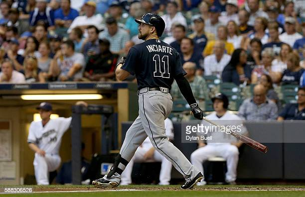 Ender Inciarte of the Atlanta Braves hits a single in the third inning against the Milwaukee Brewers at Miller Park on August 10 2016 in Milwaukee...