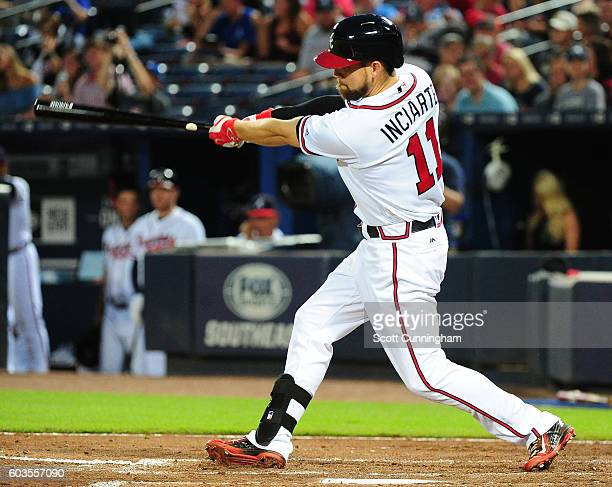 Ender Inciarte of the Atlanta Braves hits a third inning double against the Miami Marlins at Turner Field on September 12 2016 in Atlanta Georgia
