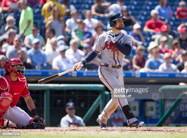 Ender Inciarte of the Atlanta Braves hits a triple in the top of the seventh inning against the Philadelphia Phillies in game one of the doubleheader...