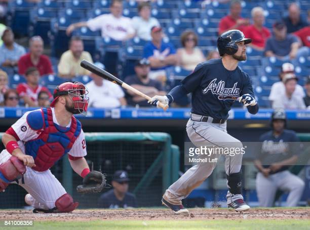 Ender Inciarte of the Atlanta Braves hits an RBI single in the top of the fourth inning against the Philadelphia Phillies in game two of the...
