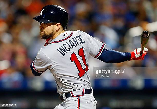 Ender Inciarte of the Atlanta Braves in action against the New York Mets at Citi Field on September 19 2016 in the Flushing neighborhood of the...