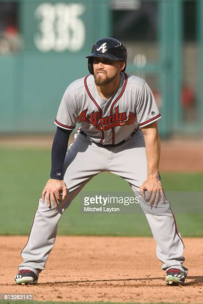Ender Inciarte of the Atlanta Braves leads off first base during a baseball game against the Washington Nationals at Nationals Park on July 8 2017 in...