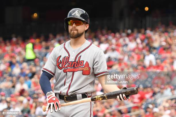 Ender Inciarte of the Atlanta Braves looks on during a baseball game against the Washington Nationals at Nationals Park on July 8 2017 in Washington...