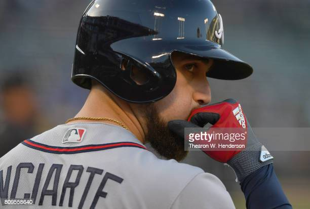 Ender Inciarte of the Atlanta Braves looks on from the ondeck circle against the Oakland Athletics in the top of the first inning at Oakland Alameda...
