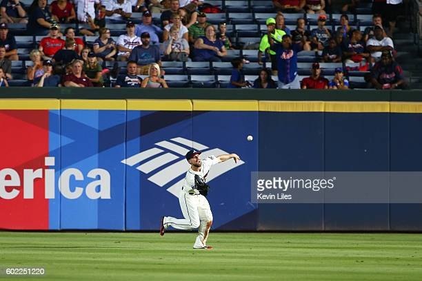 Ender Inciarte of the Atlanta Braves makes a catch against the New York Mets during the ninth inning at Turner Field on September 10 2016 in Atlanta...