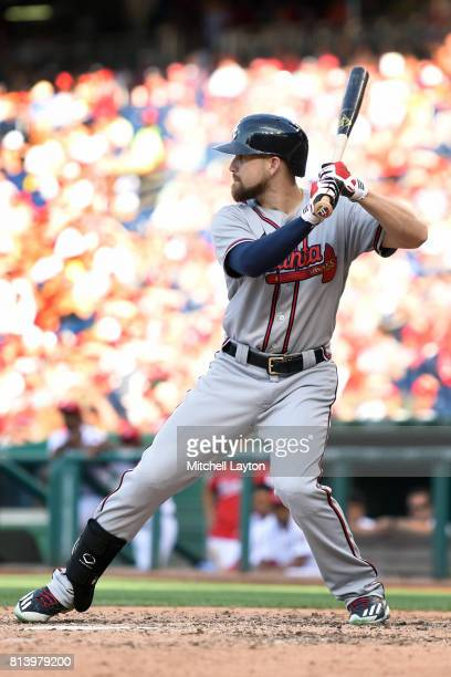 Ender Inciarte of the Atlanta Braves prepares for a pitch during a baseball game against the Washington Nationals at Nationals Park on July 8 2017 in...